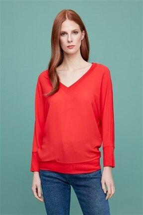 Journey Kadın Kırmızı Bluz-arka Ve Ön V Yaka, Uzun Kol
