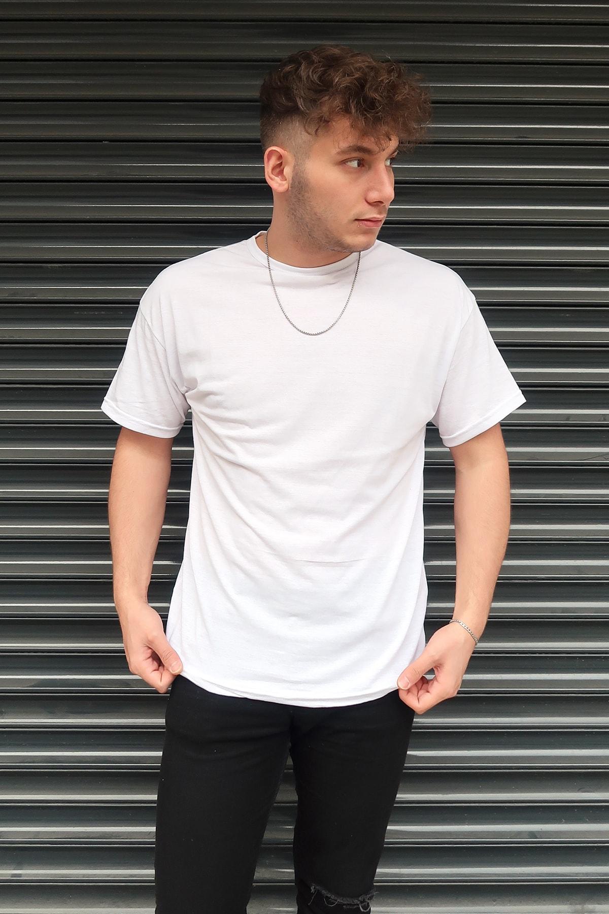 aksesuargo Beyaz Basic Unisex Bisiklet Yaka Oversize T-shirt 1