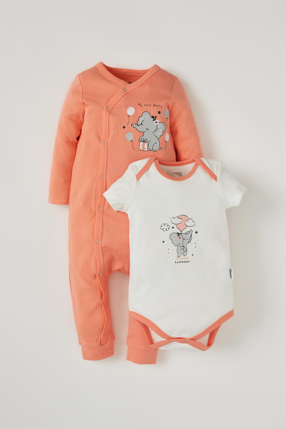 DeFacto Kız Bebek Sevimli Fil Baskılı 2'li Pamuklu Takım
