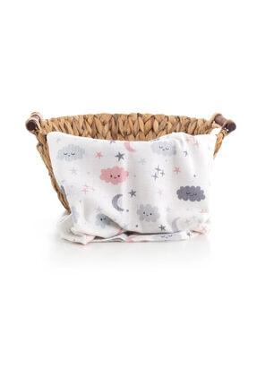 Caline Baby Gri Bulut Desen Müslin Bezi Örtü 120x120 cm + 4 Adet Ağız Mendili