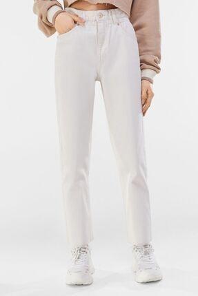Bershka Kadın Krem Fitilli Crop Straight Fit Pantolon