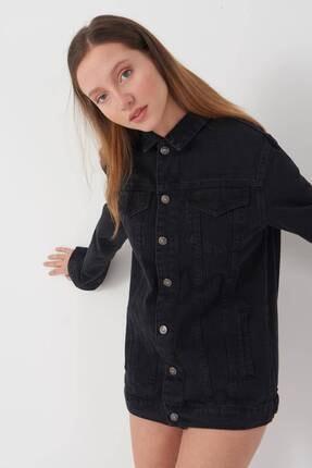Addax Kadın Siyah Uzun Boyfriend Ceket C6301 - A10 ADX-00008194