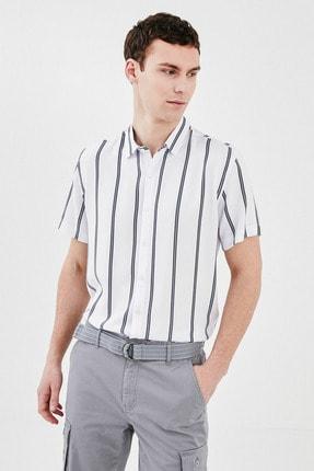 LC Waikiki Erkek Beyaz Çizgili LCW Casual Gömlek