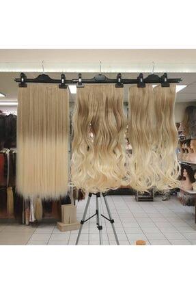 My Hair Türkiye Yarımay Çıtçıt Saç 4 Lü Set Fiber Sentetik Küllü Sarı Platin Ombre Renk Kodu-24-88