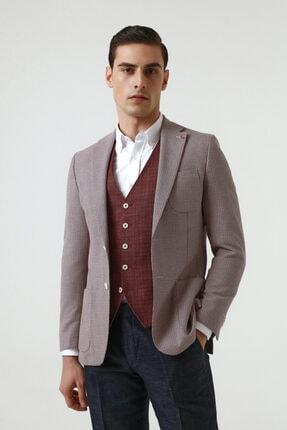 D'S Damat Kırmızı Renk Erkek  Yelekli Takım Elbise (Slim Fit)
