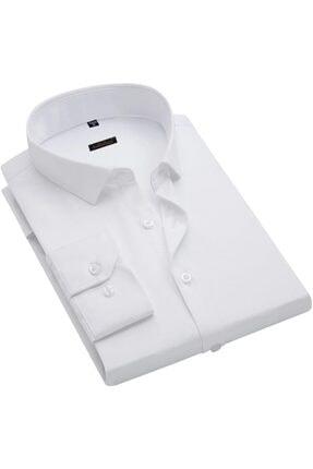 ATİLLA ÖZER Erkek Beyaz Battal Kesim Uzun Kol Gömlek - 0164