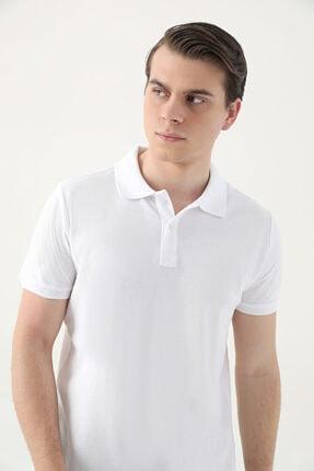 D'S Damat Ds Damat Regular Fit Beyaz Pike Dokulu T-shirt