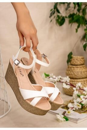 ESPARDİLE Açela Beyaz Cilt Dolgu Topuk Sandalet