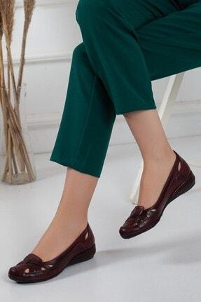 Dilimler Ayakkabı Kafes Model Bordo Kadın Babet