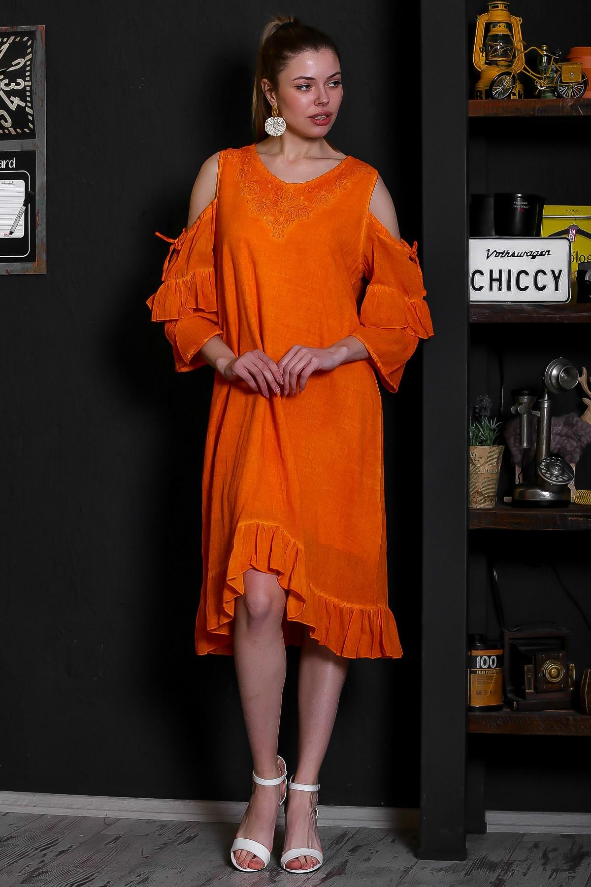 Chiccy Kadın Turuncu Dantel Yakalı Omuzları Pencereli Volanlı Astarlı Yıkamalı Elbise M10160000EL95361