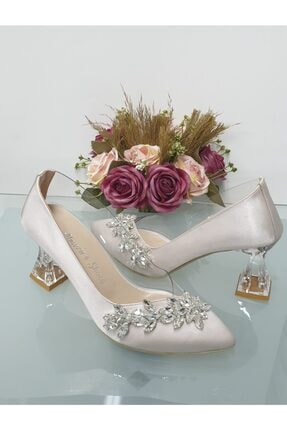 Almera's Shoes Şeffaf Ten Saten Yaprak Taş Şeffaf Topuklu Ayakkabı A135