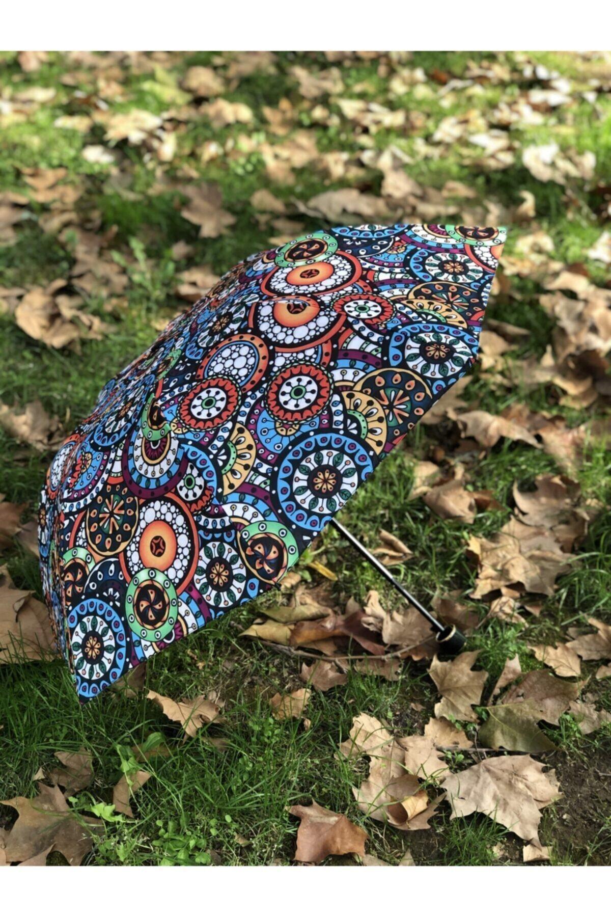 Rainwalker Rüzgarda Kırılmayan Etnik Desenli Kadın Şemsiye 2