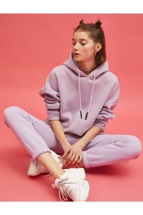 Koton Kadın Mor Kapüşonlu Sweatshirt