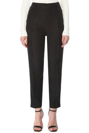 Network Kadın Regular Fit Siyah Yüksek Bel Çizgili Pantolon 1076430
