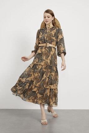 Arma Life Yaka Bağcıklı Şal Desen Uzun Şifon Elbise