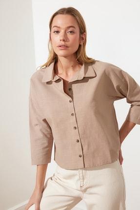 TRENDYOLMİLLA Camel Basic Gömlek TWOSS21GO0549