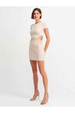 Dilvin Kadın Bej Pencere Detaylı Elbise