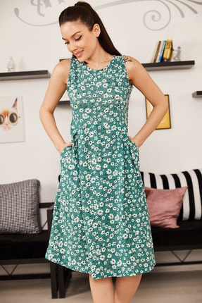 armonika Kadın Yeşil Küçük Çiçekli Kolsuz Midi Boy Elbise ARM-21Y001011