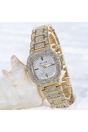 Spectrum Şık Özel Tasarım Sarı Renk Zirkon Taşlı Çelik Kasa Bayan Kol Saati St-303706
