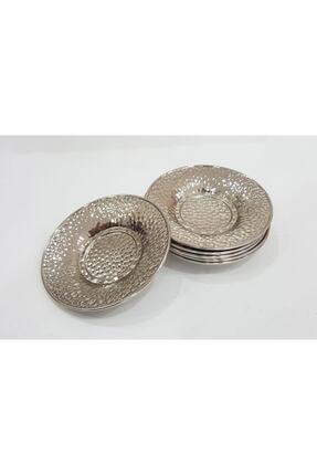 markazey 6 Adet Dövme Gümüş Renk Çay Tabağı