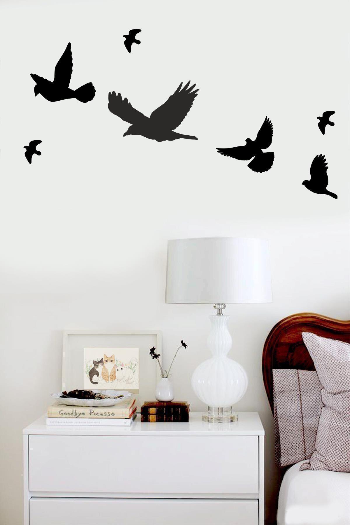 evdeucuz Ahşap Dekoratif Kuş 7 Adet Set 1
