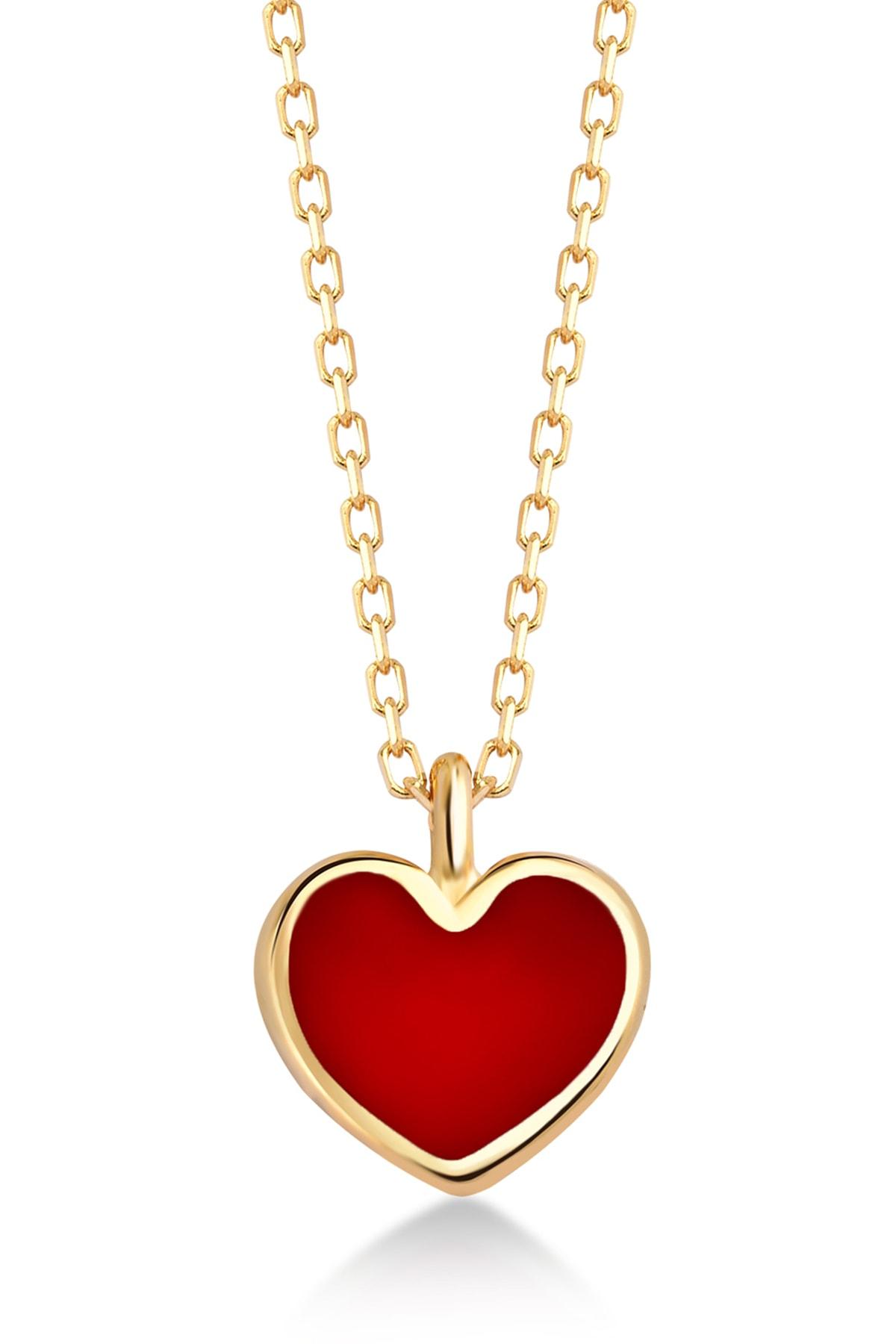 Gelin Pırlanta 14 Ayar Altın Mini Kırmızı Kalp Kolye 1