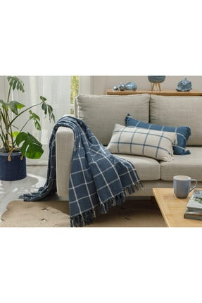 English Home Modern Lines Pamuk Polyester Koltuk Şalı 130x170 Cm İndigo