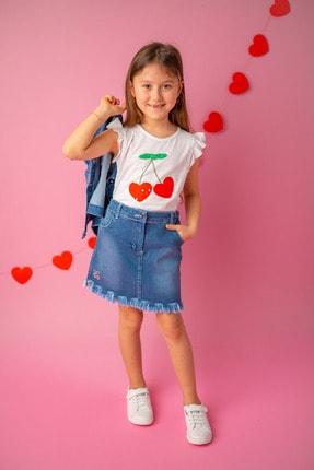 Zeyland Beyaz Cherry Aplikeli T-shirt (5-14YAŞ)
