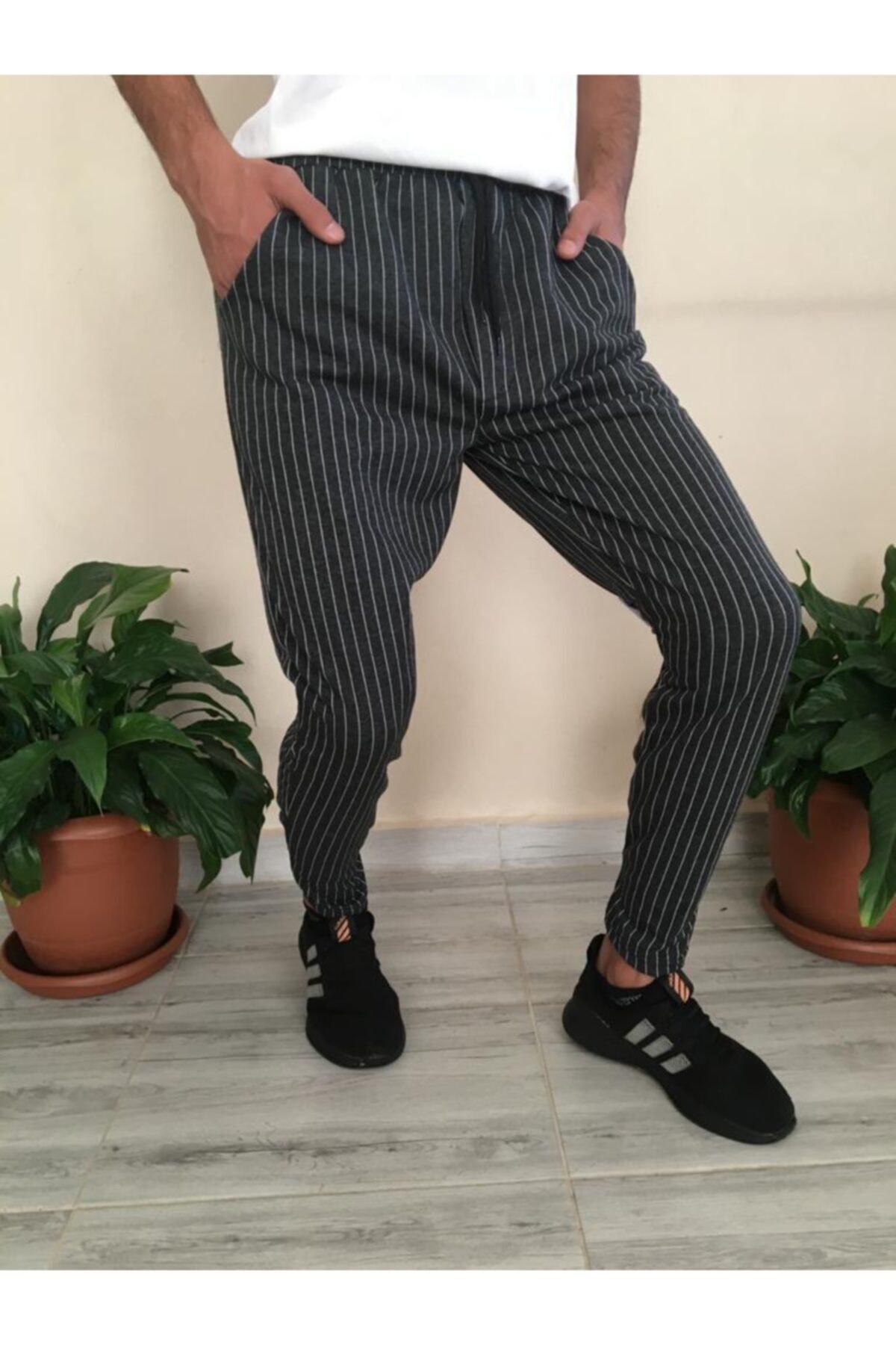 Veys Moda Erkek Antrasit Çizgili Jogger Tarzı Eşofman Pantolon 1
