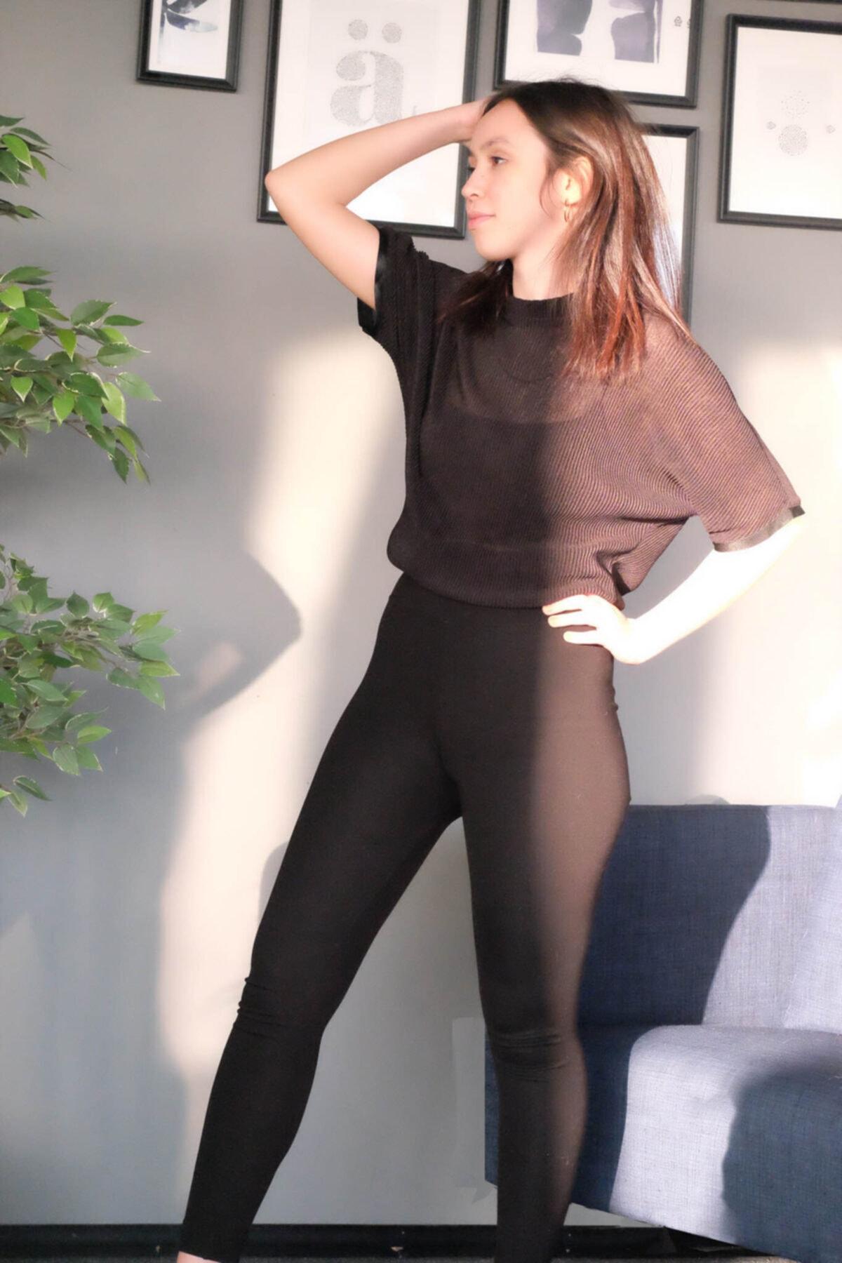Hogg Kadın Siyah Pliseli Şık Bluz 2