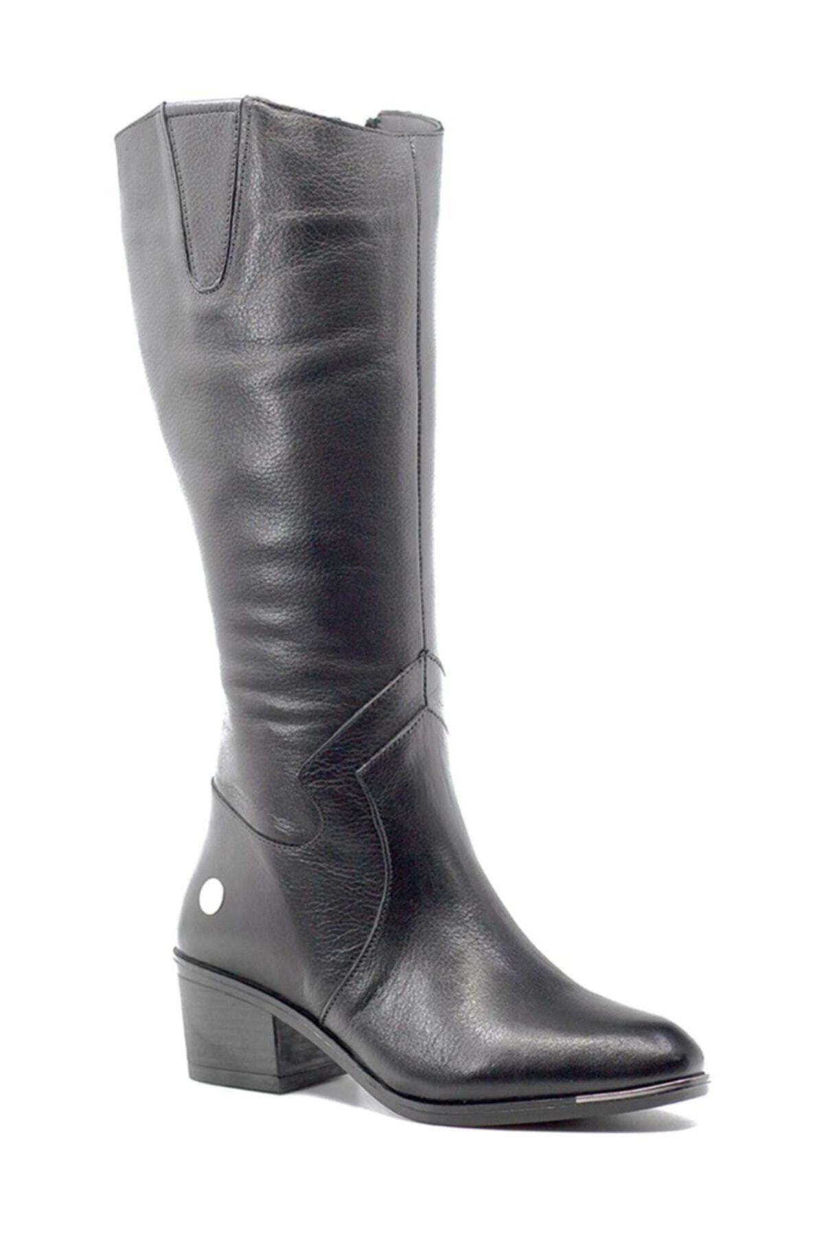 Mammamia D19kc-2020 Hakiki Deri Siyah Kadın Çizme 1