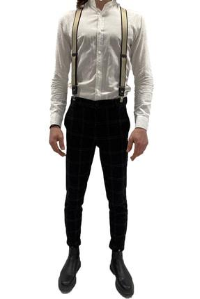 ZEKTON %100 Deri Bej Unisex Pantolon Askısı