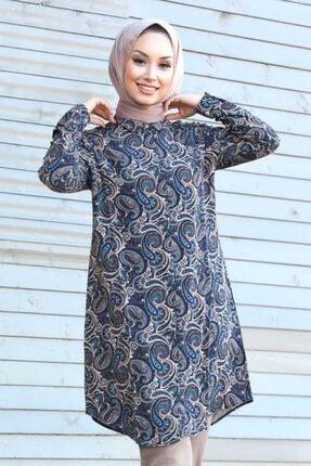 Neva Style - Desenli Lacivert Tesettür Tunik 11522l