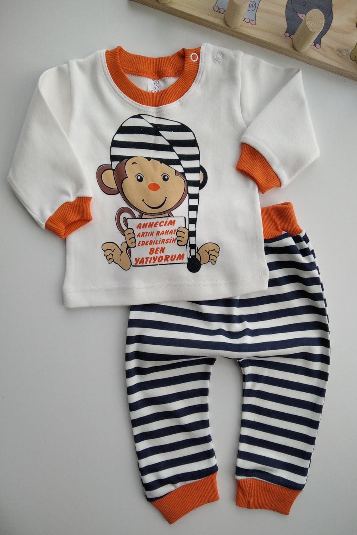 Bebek Exclusive Annecim Ben Uyuyorum Yazılı Bebek 2li Pijama Takımı 1