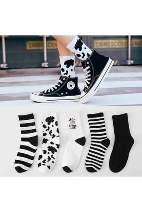 BGK Kadın 5 Çift Siyah Beyaz Inek Desenli Çizgili Tenis Çorabı