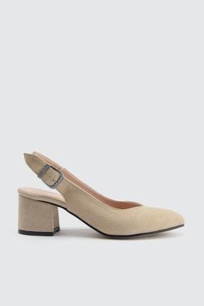TRENDYOLMİLLA Bej Süet Kadın Klasik Topuklu Ayakkabı TAKSS21TO0035
