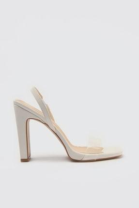 TRENDYOLMİLLA Beyaz Şeffaf Bantlı Kadın Klasik Topuklu Ayakkabı TAKSS21TO0005