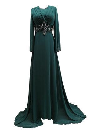 MUSTAFA DOĞAN Şifon Uzun Kollu Yeşil Abiye Ve Mezuniyet Elbisesi