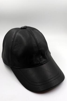 Seozke Unisex Siyah Hakiki Deri Şapka