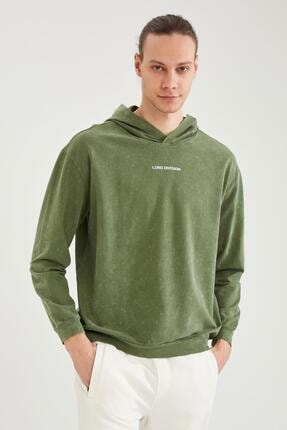 DeFacto Slim Fit Baskılı Kapüşonlu Sweatshirt