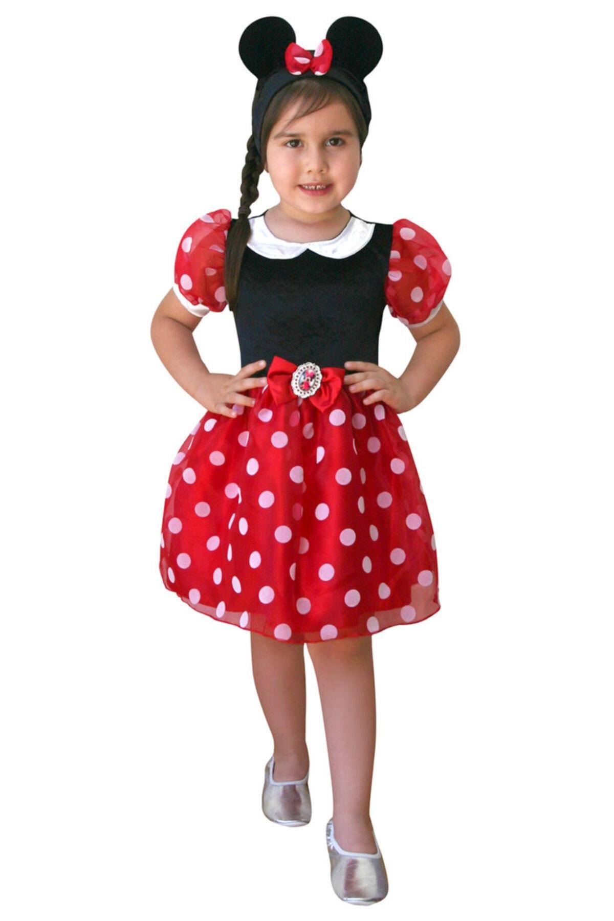 MINNIE Kız Çocuk Kırmızı Minnie Mouse Kostüm 1
