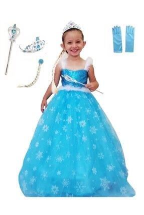 DEHAMODA Elsa Frozen Tarlatanlı Askılı Aksesuarlı Simli Kostüm