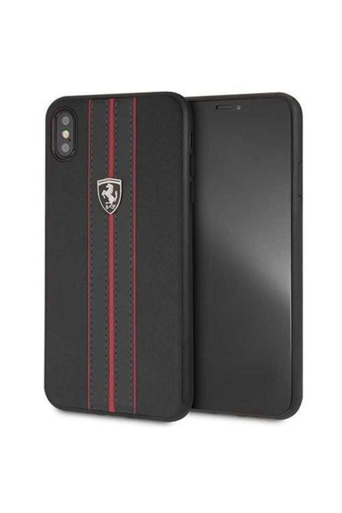 Ferrari iPhone X / Xs Kırmızı Çizgili Şeritli Siyah Deri Kılıf - Hard Case 1