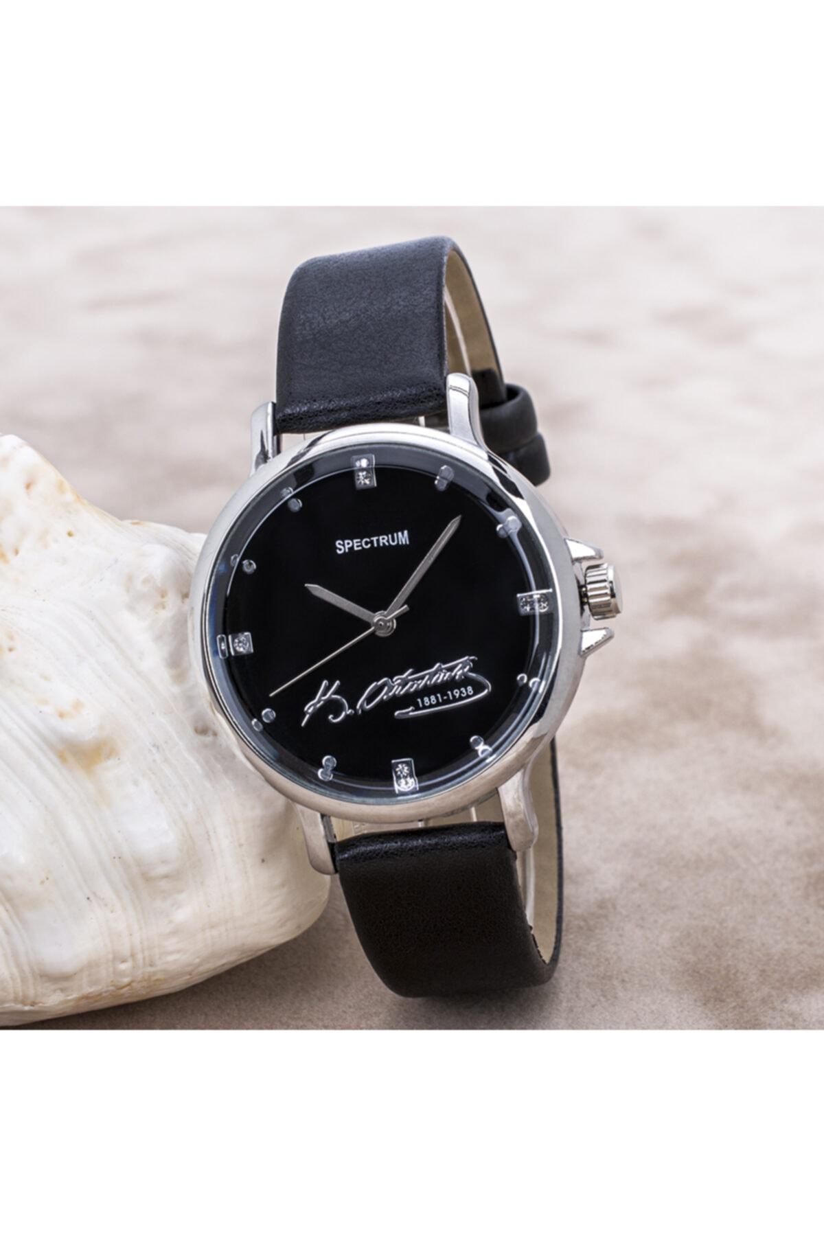 Spectrum Siyah Deri Kordon Atatürklü Silver Renk Kasalı Bayan Saat St-303703 1