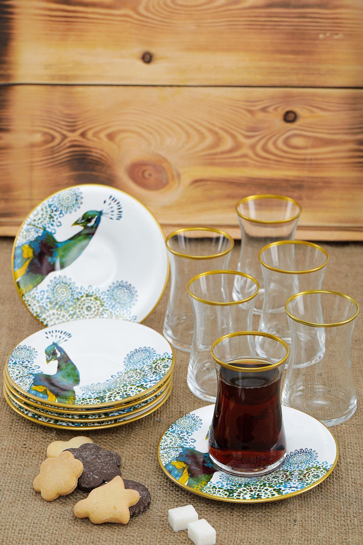 Laluxe Tavuskuşu Desenli 12 Parça Seramik Çay Bardağı Takımı Seti 2