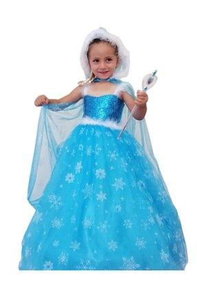 DEHAMODA Frozen Elsa Pelerinli Şapkalı Tarlatanlı Kostüm 6'lı Set Askılı Model