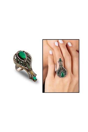 Tesbihane Kadın 925 Ayar Gümüş Zirkon Ve Yeşil Ruby Taşlı Otantik Yüzük