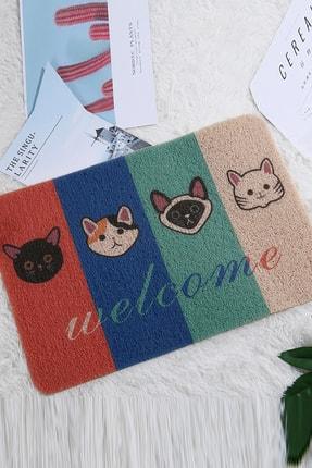YOYOSO Welcome Cats Sloganlı Kedi Desenli Paspas