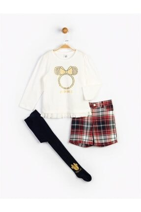 Minnie Mouse Kız Çocuk Ekru Minnie Etekli Takım Ve Külotlu Çorap 16121