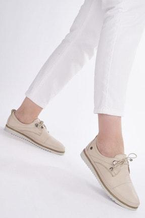 Marjin Kadın Bej Hakiki Deri Comfort Ayakkabı Demas